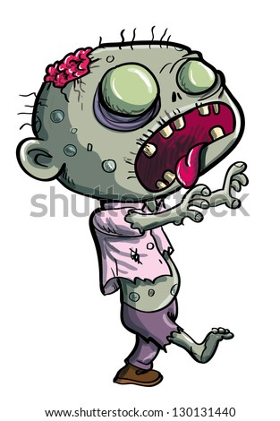 Cute green zombie cartoon isolated on white - stock vector