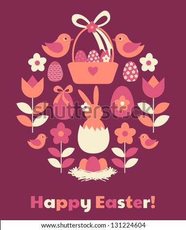 Cute greeting card for Easter. - stock vector