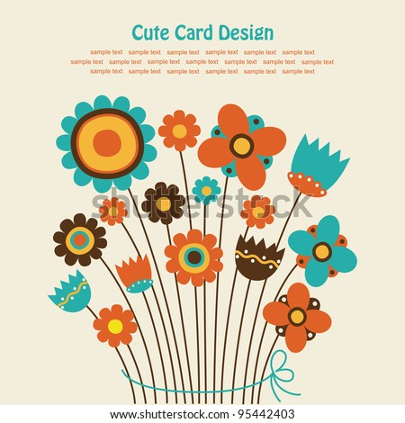 cute greeting card with cute bouqet. vector illustration
