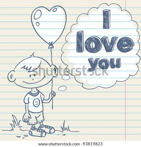 Cute greeting card with hand drawn cartoon little boy holding a balloon heart and love text - stock vector
