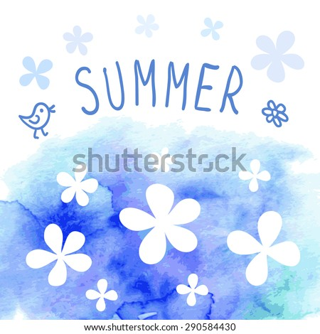 Cute greeting card with simple flowers on watercolor background - stock vector