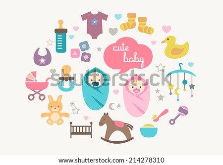 Cute greetings card with icons of babies and toys in flat design style. - stock vector