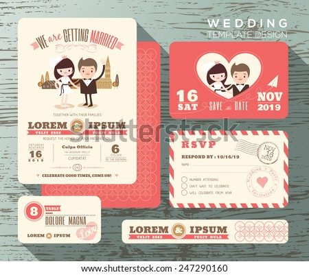 Cute groom and bride couple wedding invitation set design Template Vector response card save the date card - stock vector