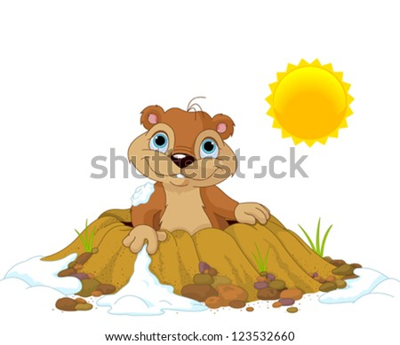 Cute Groundhog popping out of a hole - stock vector