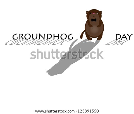 Cute Groundhog with shadow. Symbol of Groundhog day with text - stock vector
