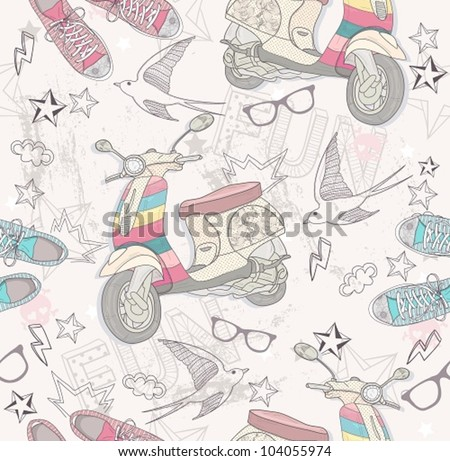 Cute grunge abstract pattern. Seamless pattern with shoes, retro scooter, glasses, stars, thunders and birds. Fun pattern for children or teenagers. - stock vector