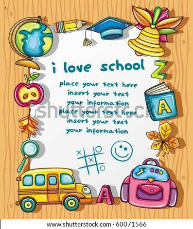 Cute grunge frame with colorful school icons, isolated on wooden background. - stock vector