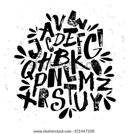 Cute grungy alphabet for your design. - stock vector