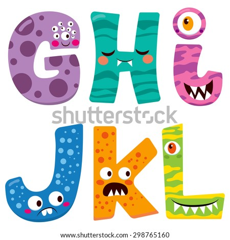 Cute Halloween alphabet with funny g h i j k l monster characters - stock vector