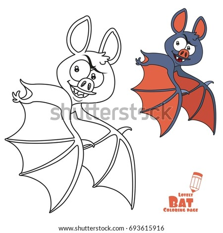 cute halloween bat flying color and outlined for coloring page - Cute Halloween Bat Coloring Pages