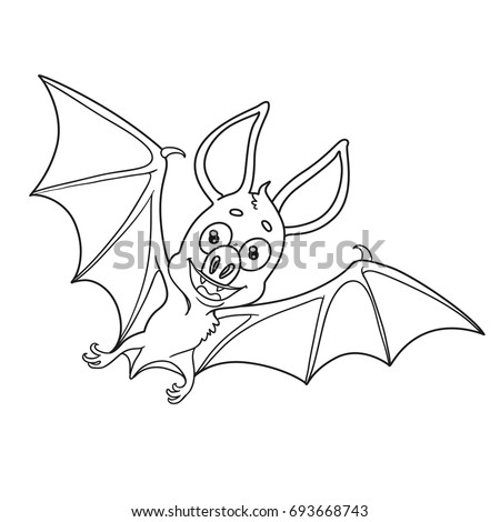 Cute Halloween Bat Outlined Coloring Page Stock Vector 693668743 ...