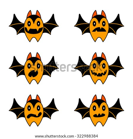 Cute Halloween bat set - stock vector