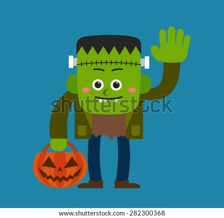 Cute Halloween character - Frankenstein - stock vector