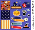 Cute Halloween design elements and patterns for scrapbooking. - stock vector