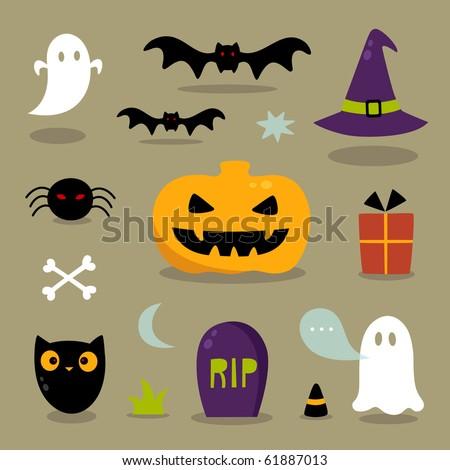 Cute Halloween icons - stock vector