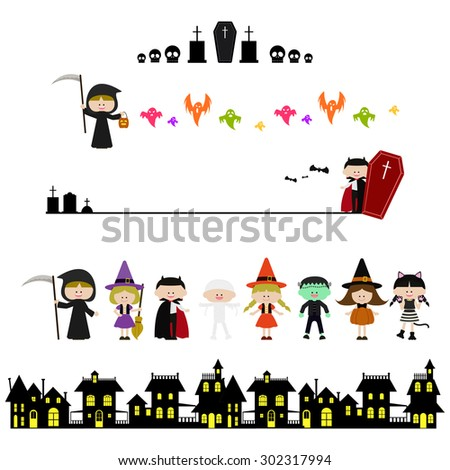 Cute Halloween illustration - stock vector