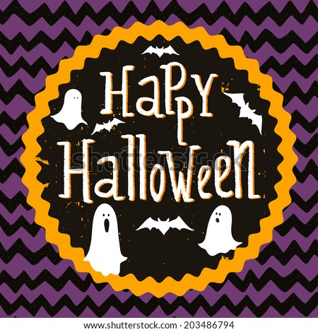 Cute halloween invitation or greeting card template with cartoon ghosts and bats on hand drawn doodle chevron background. Hand written Happy Halloween lettering and round frame for the text. - stock vector