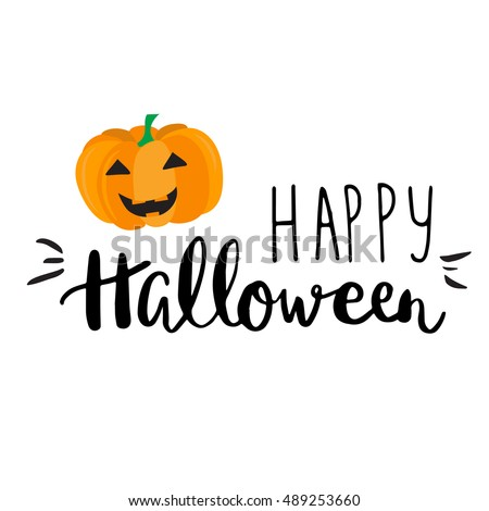 Cute Halloween Invitation Greeting Card Template Stock Vector