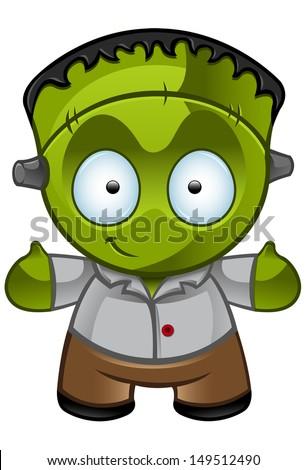 Cute Halloween Monster - Smiling - stock vector