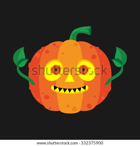 Cute Halloween orange pumpkin icon.