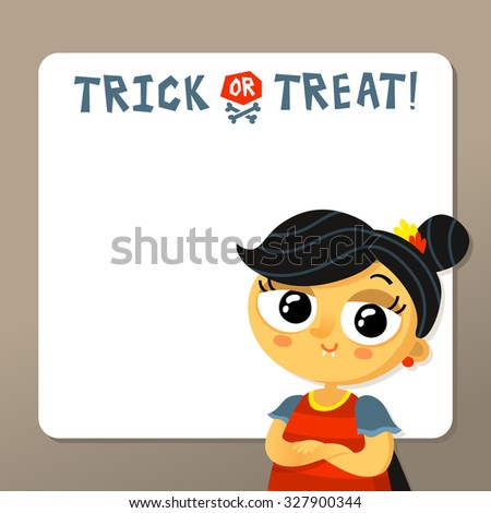 Cute Halloween vector greeting card or party invitation template with vampire girl in carnival costume and copy space for text  - stock vector