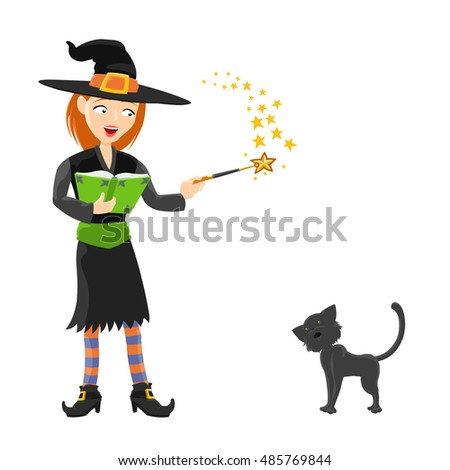 Cute halloween witch with a magic  book, magic wand and witch`s black cat. Vector illustration  on white background. Isolated.