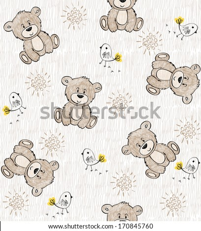Cute hand draw seamless pattern for kids. - stock vector