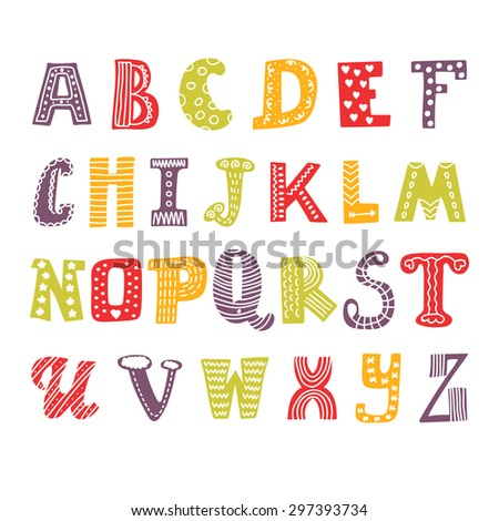 Cute hand drawing alphabet. Funny font. Hand drawn design. Vector illustration - stock vector