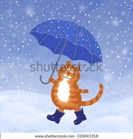 Cute hand drawing cartoon cat, umbrella, rain and puddles.  Vector illustration. Hello, winter - stock vector