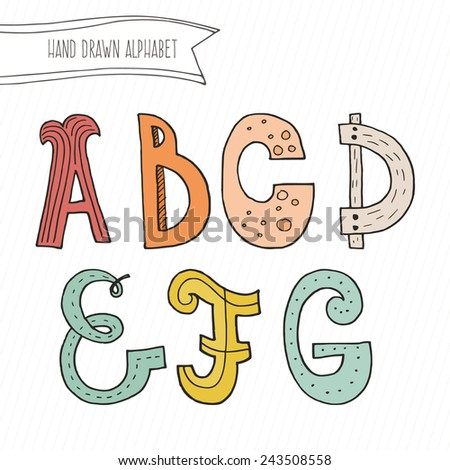 Cute hand drawn alphabet for kids made in vector. Doodle letters A, B, C, D, E, F, G for your design. Isolated characters. Handdrawn font.  - stock vector