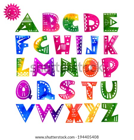 Cute hand-drawn alphabet letters with watercolor texture and ethnic pattern. Vector illustration  - stock vector