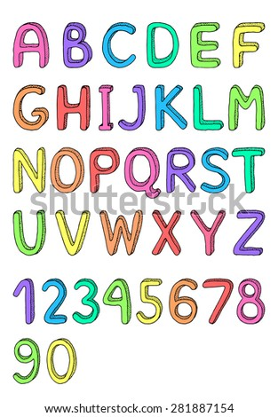 Cute hand drawn alphabet, stylized dots. Set of letters for your design. Creative design elements. Colorful alphabet and numbers - stock vector
