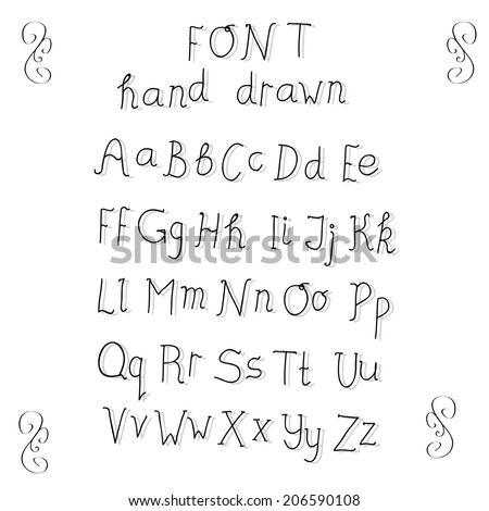 Cute hand drawn alphabet with shadows made in vector. ABC for your design. Easy to use and edit letters.  - stock vector
