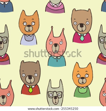 cute hand drawn animal vector seamless pattern, forest animals avatars background, bear, fox, squirrel and rabbit in glasses arranged in polka dot order