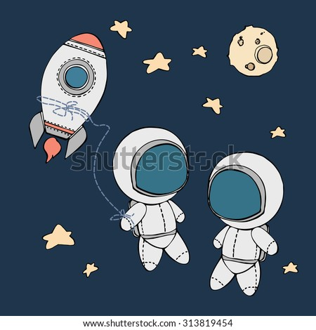 cute hand drawn astronaut with stars floating in space, cosmic vector illustration - stock vector