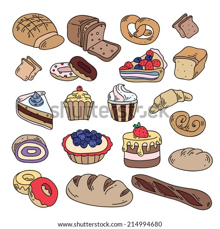 Cute hand drawn bakery icons in vector