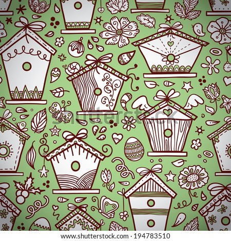 Cute Hand Drawn Bird Houses Vector Seamless Pattern With
