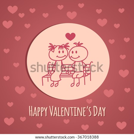 Cute hand drawn boy and girl (cartoon doodle)Valentine`s day background. - stock vector