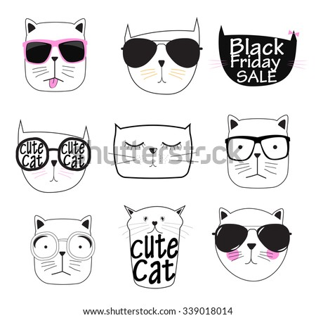 Cute Hand drawn Cat Set Vector Illustration EPS10 - stock vector