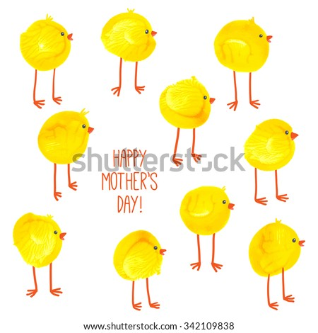 Cute hand drawn chicks pattern. Watercolor funny baby chickens. Watercolor / acrylic kids Mothers Day art. Cartoon vector eps 10 illustration on white background. Baby shower / Easter card design - stock vector