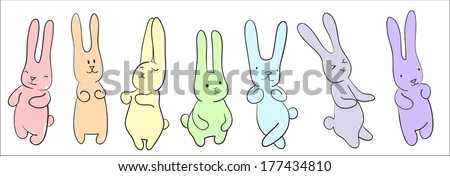 Cute  hand-drawn dancing rabbits  - stock vector