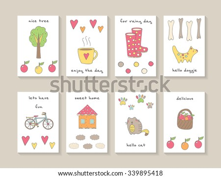 Cute hand drawn doodle cards, brochures, invitations with tree, cup of tea, hearts, apples, dog, bike, house, clouds, cat, basket, circles, paw prints. Cartoon animals, objects background for children - stock vector