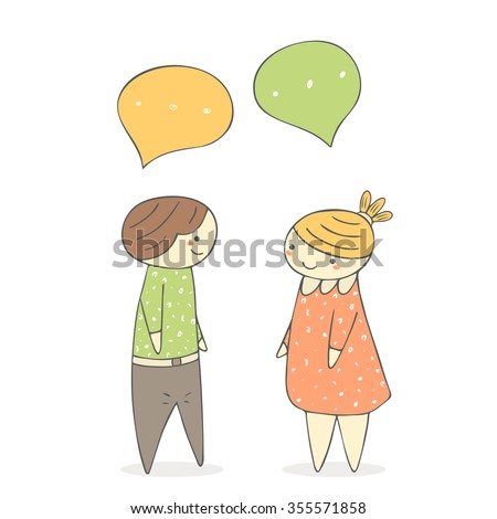 Cute hand drawn doodle chatting boy and girl. Dialog between two people - stock vector