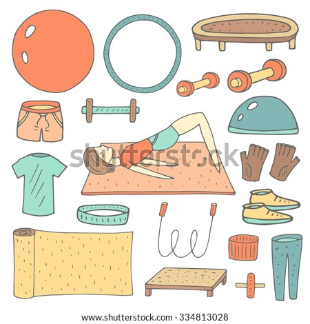 Cute hand drawn doodle fitness objects set including ball, hoop, jumping rope, shorts, t shirt, gloves, carpet, headband, wristband, dumbbell, trampoline, girl doing exercise. Sport, gym icon, banner - stock vector