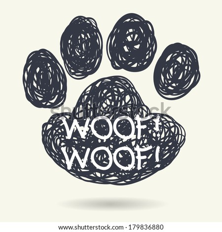 Cute hand drawn doodle frame in shape of dog's paw print isolated on light background. - stock vector