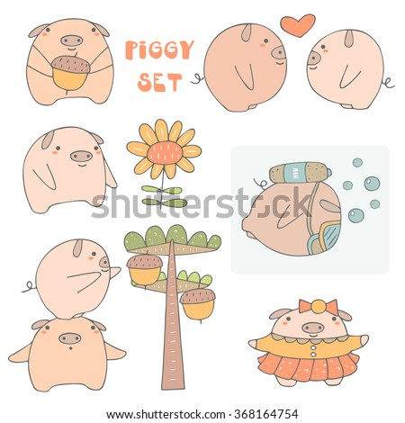 Cute hand drawn doodle pigs collection including pig with acorn, boy and girl pig, pig with flower, pig under water, pig in dress, pig trying to catch acorn. Animals icons set in cartoon style - stock vector