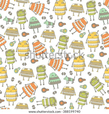 Cute hand drawn doodle seamless pattern with steampunk robots. Pattern for wrapping paper, cover, fabric - stock vector