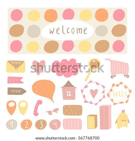 Cute hand drawn doodle signs, objects, banners, design elements including dialog bubble, circle, arrow, cloud, shopping cart, telephone, frame, heart, house, loupe, envelope. Icons collection for blog - stock vector