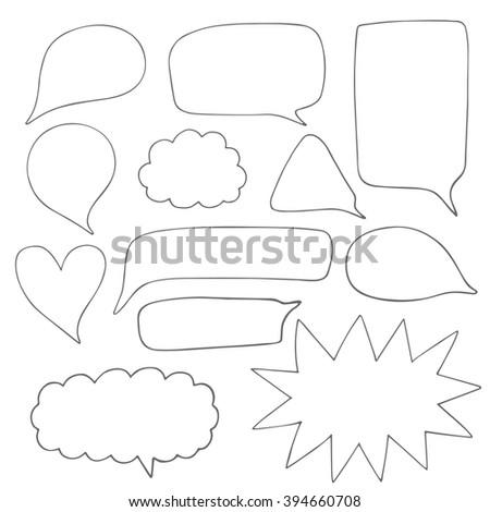 Cute hand drawn doodle speech, dialog bubbles collection - stock vector
