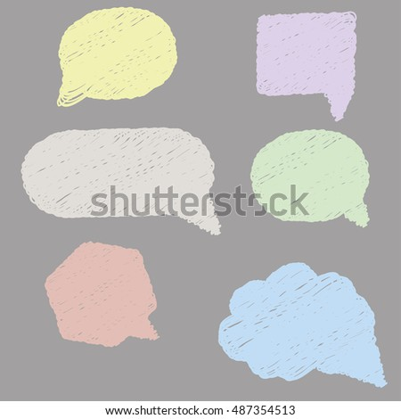 Cute hand drawn doodle speech, dialog bubbles collection